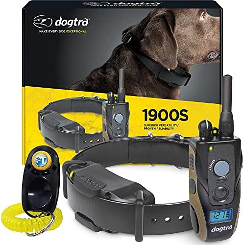 professional dog training collars Dogtra 1900S Remote Training Collar - 3/4 Mile Range, Waterproof, Rechargeable, 127 Training Levels, Vibration - includes PetsTEK Dog Training Clicker