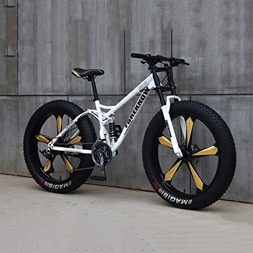 Bicicletas, Bicicletas De Montaña, Bicicletas De 26 Pulgadas 7/21/24/27 Velocidad, Variable Hombres Mujeres Estudiantes De La Bici Velocidad, Fat Tire Bicicletas De Montaña Para Hombre,Blanco,7 Speed