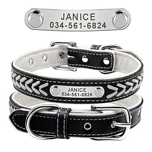 Didog Collar personalizado de cuero, trenzado de cuero grabado, collares de perro con placa de identificación personalizada para perros pequeños, medianos grandes, blanco, tamaño XL