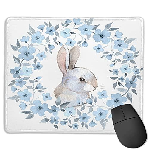 TONKSHA Alfombrilla de ratón para Juegos Personalizada,Conejo y Guirnalda Floral,Alfombrilla Rectangular de Goma Antideslizante para Oficina para computadoras portátiles de 9.8'x 11.8'