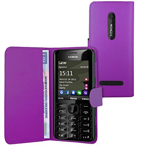 FoneExpert® Wallet Hülle Flip Cover Hüllen Etui Ledertasche Lederhülle Premium Schutzhülle für Nokia Asha 206 / Nokia Asha 206 Dual-SIM (Wallet Lila)