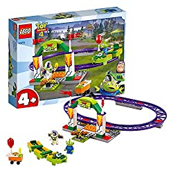 Includes 2 toy story character minifigures: Buzz Lightyear and Alien Features a roller coaster track with a large entrance arch, flags, camera, spinning turnstile, six purple track sections and a starter brick baseplate This exciting set also include...