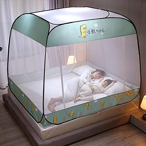 Mosquito net 1.5m / 1.8m 2m bed, no need to install zipper three-door square top yurt, full bottom anti-fall high mosquito net-[Full Bottom] Little Dinosaur_1.8m bed