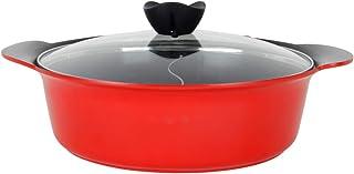 Haufson Yin Yang Hot Pot   Funciona con todas las cocinas principales, naturalmente antiadherente, diseño sin costuras, utensilios de cocina profesional para el hogar (rojo)