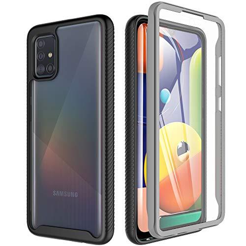 OWKEY Hülle für Samsung Galaxy A51, 360 Grad Case Outdoor Schutzhülle Rugged Transparent Cover mit Integriertem Displayschutz Handyhülle für Samsung Galaxy A51