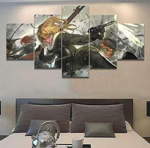 Cuadro Moderno en Lienzo,Conjunto de 5 Piezas para Salon Decoración80x150cm Guerra de armas depersonaje de dibujos animados de anime Arte Pared Fotos Cuadros En Lienzo Lonas De Imprimir Modern Artwork