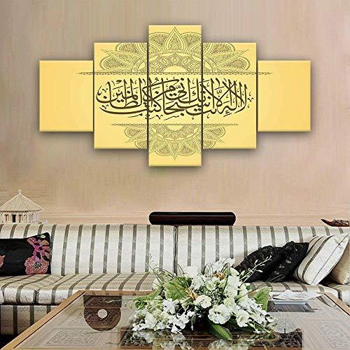 Cuadro en Lienzo 5 Pieza impresión Lienzo artística Pintura Diseño Cuadro Moderno Pared gráficaCartel de caligrafía árabe de Alá islámicoarte de pared para el hogar decoración Enmarcado