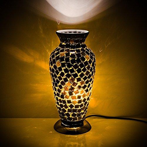 schwarz Kachel Mosaik Glas Vase Lampe