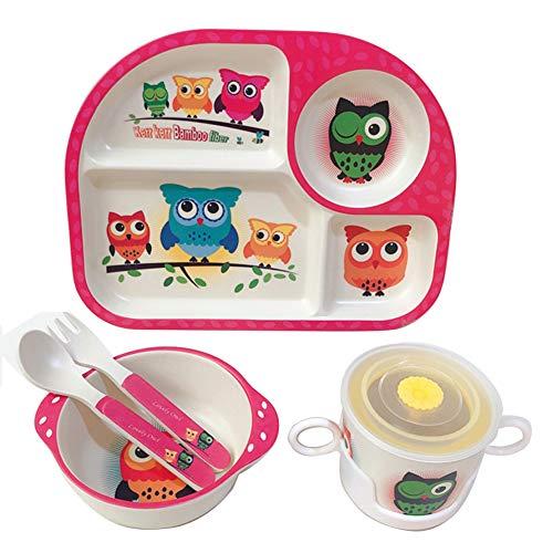 Shopwithgreen 5Pcs/Set Bamboo Kids Dinnerware Set - Children Dishes - Food Plate Bowl Cup Spoon Fork Set Dishware, Cartoon Tableware, Dishwasher Safe Kids Healthy Mealtime, BPA Free (Owl)