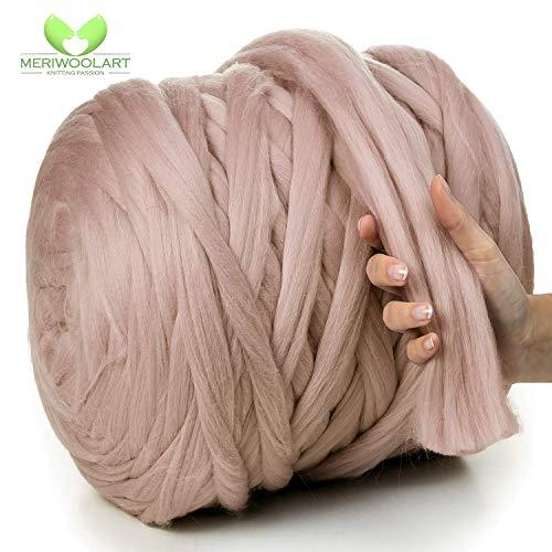MeriWoolArt 100% Merinowolle zum Stricken & Häkeln mit 4-5 cm dickem Garn   Dicke Merino Wolle für XXL Schal, Decke & Kissen (Cappuccino, 4,5Kg Rolle)