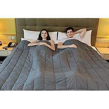 YnM Weighted Blanket for Couple (25lbs, 80''x87'', King Size), Great Sleep Therapy for People with Anxiety, Autism, ADHD, Insomnia or Stress A Dark Grey Cotton Duvet Cover