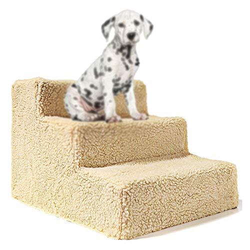 CQILONG Rubber Kerb Ramps Dog Stairs, Pet Ramp Indoor Cotton Wool Fabric Anti Slip And Wear-resistant, Safe, Comfortable, Light And Portable Good Support, For Puppies And Old Dogs