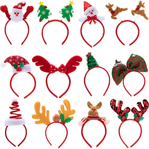 Pack of 12 Christmas Headbands with Assorted Design for Christmas Party Supplies and Party Favors (One Size Fits All)