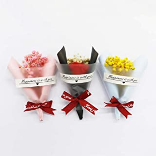 Mini Dried Flower Bouquet,Creative Mini Artificial Gypsophila Bouquet,for as Home Party Wedding Bridesmaid Groomsmen Suit-Pocket Ornament,DIY Greeting Card Decor Gift Box Packing Shooting Props(3 pcs)