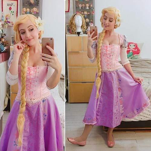 Peluca trenzada de Rapunzel para cosplay, peluca rubia larga con pelo trenzado, resistente al calor, para adultos, color dorado