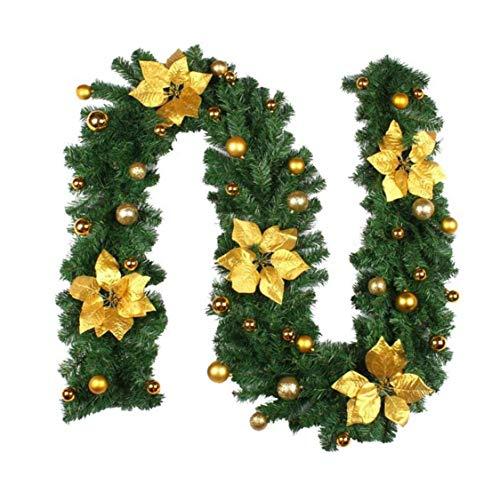 Navidad Garland, 2,7 M de Navidad corona con luces LED de Navidad artificial decorativo Flores de la vid, de navidad iluminado fuera de la Florida para escaleras, chimeneas, Árbol de navidad, Ventana,