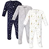 Hudson Baby Unisex Baby Cotton Sleep and Play, Navy Stars Moons, 0-3 Months