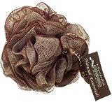 Esponja exfoliante de malla de nylon color crema y chocolate - con correa de muñeca