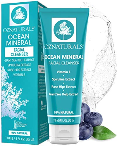 OZNaturals Ocean Mineral Pore Minimizing Face Wash - Gentle Facial Cleanser For Normal, Oily, Dry, Combination and Sensitive Skin - Hydrating Facial Cleanser & Natural Exfoliating Face Wash For Men and Women - 4 Fl Oz