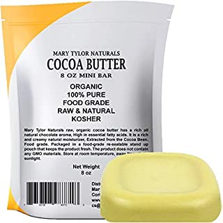 Organic Cocoa Butter (8 oz), USDA Certified by Mary Tylor Naturals Raw Unrefined, Non-Deodorized, Rich In Antioxidants Great For DIY Recipes, Lip Balms, Lotions, Creams, Stretch Marks