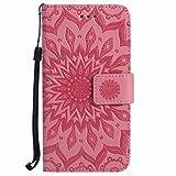 Yiizy Huawei Ascend P7 Funda, Pétalos Sol Diseño Billetera Carcasa Estuches PU Cuero Cover Cáscara Protector Piel Ranura para Tarjetas Estilo (Rosa)