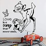 LKJHGU Fawn calcomanías de Pared de Dibujos Animados Vida Mariposa Conejito niños Dormitorio...