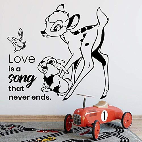 LKJHGU Fawn calcomanías de Pared de Dibujos Animados Vida Mariposa Conejito niños Dormitorio guardería decoración del hogar Puertas y Ventanas Pegatinas de Vinilo Amor murales