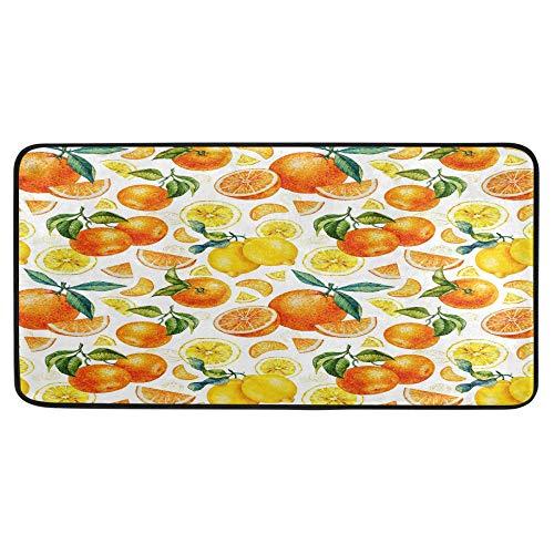 Alfombra de cocina de color naranja, limón, para baño, antideslizante, para baño, interior de 99 x 50 cm