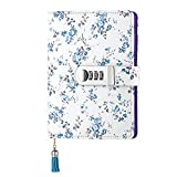 Sealei A6 PU Leather Diary with Lock (7.3 x 5.32 Inch) Refillable Password Journal Diary Notebook with Locking (Blue)