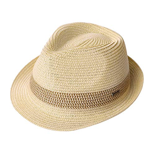 Fancet XL Large Mens Straw Panama Fedora Hat Summer Beach Casual 24