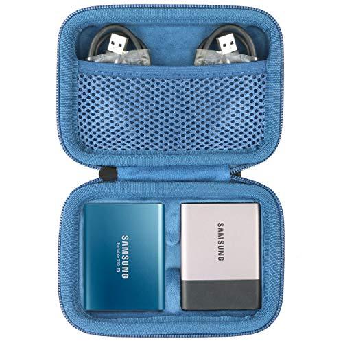 co2CREA Duro Viajar Caja Estuche Funda para Samsung T3/T5 250GB 500GB 1TB 2TB Disco Estado Sólido SSD Externo(Caja Solo)(Negro/Azul 2ssd)
