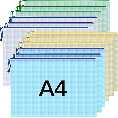 Dokumententasche A4 Reißverschluss, 12 Stück Bunt Mesh Plastik Dokumenten Tasche Reißverschlusstasche Sammelmappe für Datei, Papier, Büro Dokumente
