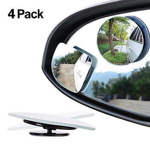Paquete de 4 espejos para retrovisor, con rotación de 360º y oscilación ajustables, forma de abanico y forma redonda sin marco de 5 cm con cristal convexo de alta definición