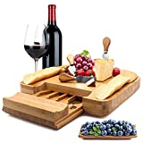 Esup Bamboo Cheese Board Set Cheese Plate With Integrated Slide-Out Drawer and 4 Specialist Cheese Knives Set, 13'' x 13'' Perfect Mother's Day Gift Thanksgiving Gifts
