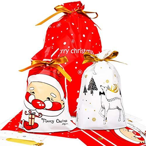 LOVEXIU GeschenktüTen Weihnachten,40pcs Weihnachten Geschenkbeutel Mit Kordelzug Klein Groß Geschenkverpackung Tasche Kunststoff Weihnachten füR Kinder Weihnachten SüßIgkeiten Weihnachtsfeier
