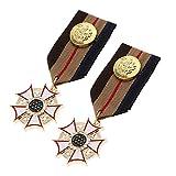 Harilla 2X Médaille Rayée étoile Badge Cravate Broche Déguisement Cosplay Uniforme...