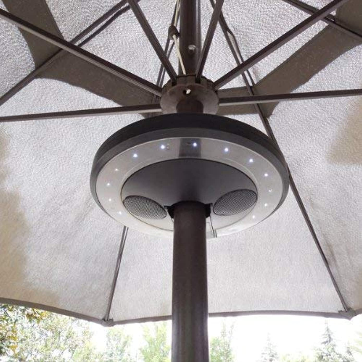 OKSLO Patio umbrella bluetooth speaker with led lights