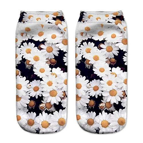 NANAYOUPIN Socken Atmungsaktive 5 Paar 3D Digitaldruck Socken Alpaka Leopard Tiger Penguin Niedlichen Cartoon-Muster Mann Frau Baumwolle Komfortable Lässige SockenBlume