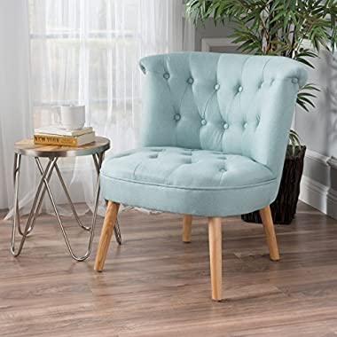Christopher Knight Home 299777 Cicely Tufted Fabric Accent Chair, Light Blue