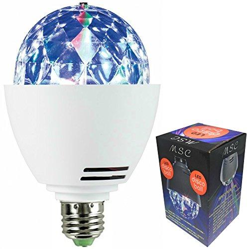 Bola de discoteca led MSC rotatoria con bombilla de luz multicolor. 3.00 wattsW, 220.00 voltsV