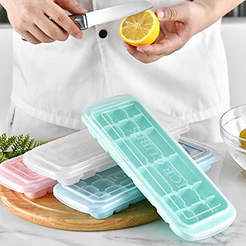 Danigrefinb Eiswürfelform aus Silikon, 3-teiliges Set mit 18 Gittern Eiswürfelform Sushi Kuchen Backform mit Deckel Küchenzubehör Einheitsgröße Zufällige Farbauswahl