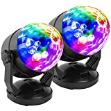 Sound-activated mode + battery/5V USB + self-rotating BRIGHT MULTI-COLORS CHANGING DISCO LIGHTING: The disco ball light is mixed with multicolor.(red, green, blue, red/green, red/blue, green/blue, and all the colors together). Perfect party accessori...