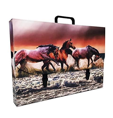 Valigetta scuola in Plastica 100% riciclabile stampata in alta qualità, misure 56X37X5 cm (HORSES)