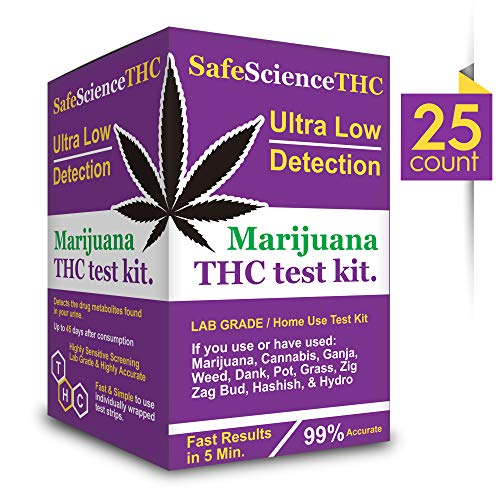 25 Count SafeScienceTHC Ultra Low Detection Marijuana THC Test Kit - Medically Approved Drug Test Strips for Detecting Any Form of THC in Urine up to 45 Days in 5 Minutes Only Highly Sensitive (25)