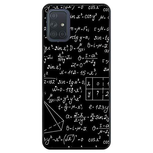 Telefoonhoesje voor [ Samsung Galaxy A71 ] tekening [ Wiskundige berekeningen met algebra-plots, taakoplossingen ] Zwart TPU flexibele siliconen schaal