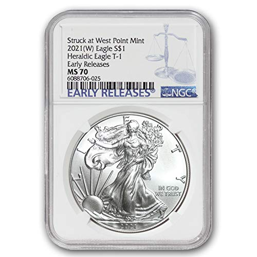 2021 (W) 1 oz American Silver Eagle Coin MS70 (Heraldic Eagle T-1 - Early Releases - Struck at West Point Mint) by CoinFolio $1 MS-70 NGC