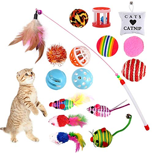 GOLDGE 16 Piezas Juguetes para Gatos, Juguete Interactivo con Plumas para Gatos, Ratóns y Bolas Varias para Gatos ⭐