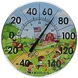 Marathon Housewares BA030002US 12' Indoor/Outdoor Dial Thermometer- Barn Scene