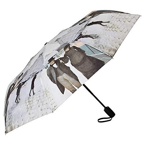 VON LILIENFELD Regenschirm Taschenschirm Stabil Leicht Auf-Automatik Damen Herren Kunst Motiv Gustave Caillebotte: Paris im Regen