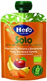 Hero Solo Pouch Frutta Frullata 100% Bio Mela, Banana e Carota, senza Zuccheri Aggiunti, Conservanti e Coloranti, senza Glutine, dai 4 Mesi in su - Pack da 18 Confezioni X 100 G